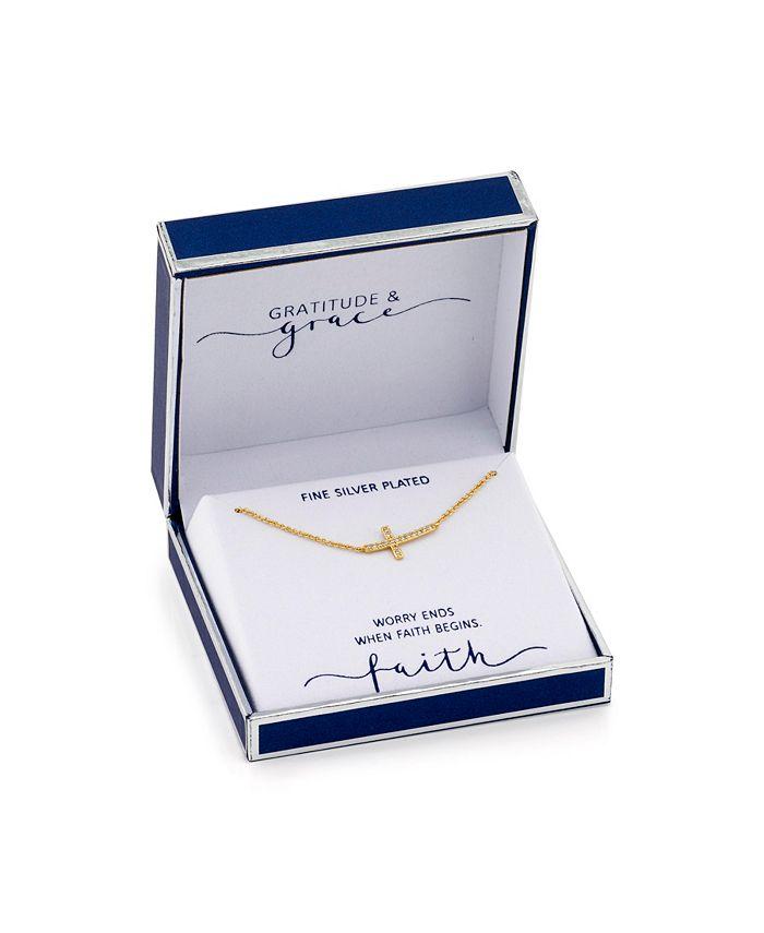 Unwritten - Gold Tone Cubic Zirconia Sideways Cross Pendant Necklace
