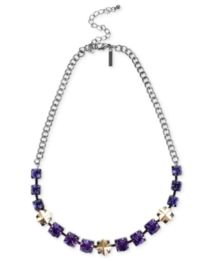 Steve Madden silver tone purple crystal and gold tone bead necklace