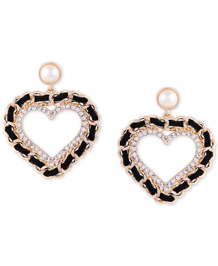 GUESS - Gold-Tone Imitation Pearl, Crystal & Black Woven Heart Drop Earrings