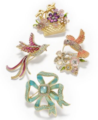 Gold-Tone Multicolor Crystal Flower Basket Pin