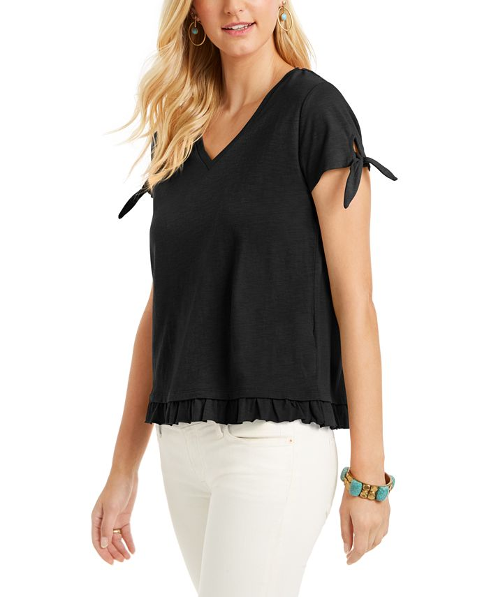 Style Co Petite Tie Cuff Ruffled Top Created For Macy S Reviews Tops Petites Macy S