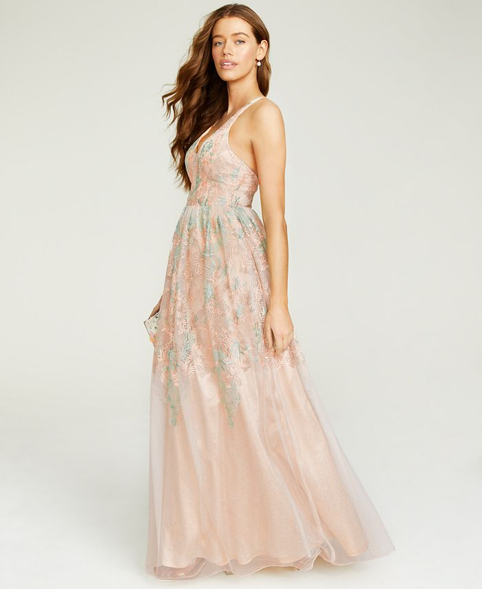 City Studios - Juniors' Floral-Embroidered Gown