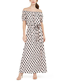 INC Off-The-Shoulder Burnout Maxi Dress With Sash, Created for Macy's