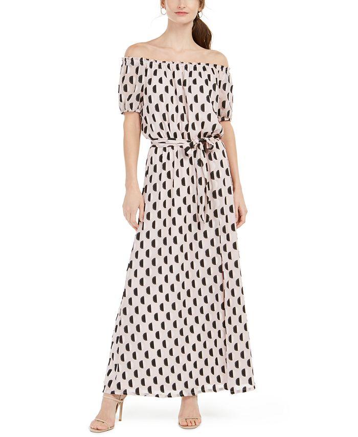 INC International Concepts - Off-The-Shoulder Burnout Maxi Dress With Sas
