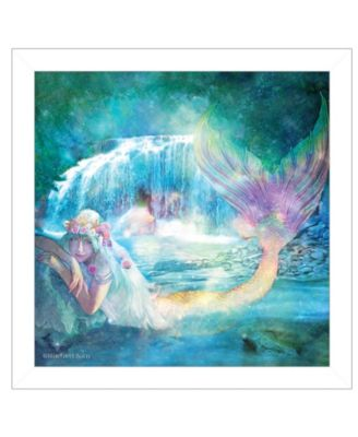 Woodland Cove Mermaid by Bluebird Barn, Ready to hang Framed Print, White Frame, 14