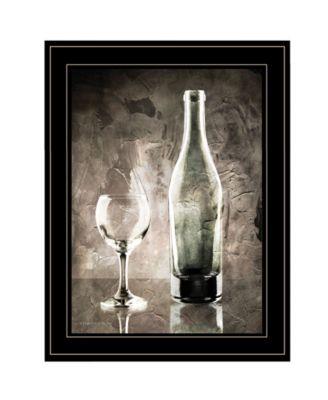 Moody Gray Wine Glass Still Life by Bluebird Barn, Ready to hang Framed Print, Black Frame, 15