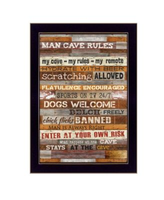 Man Cave Rules By Marla Rae, Printed Wall Art, Ready to hang, Black Frame, 10