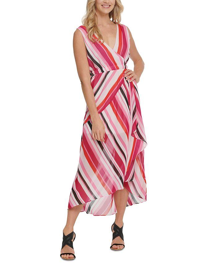 DKNY - Striped High-Low Maxi Dress