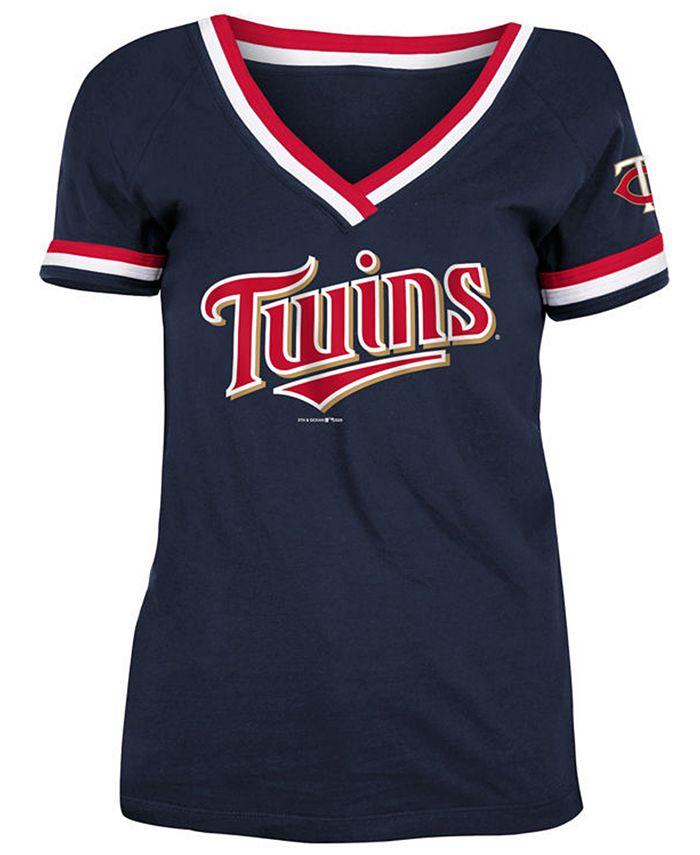 5th & Ocean - Minnesota Twins Women's Contrast Binding T-Shirt