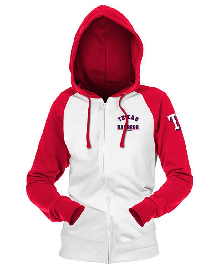 5th & Ocean - Texas Rangers Women's Zip-Up Contrast Hoodie