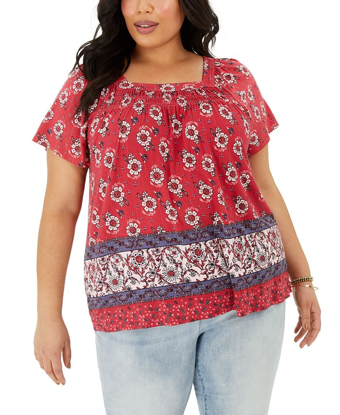 Style & Co - Plus Size Printed Square-Neck Top