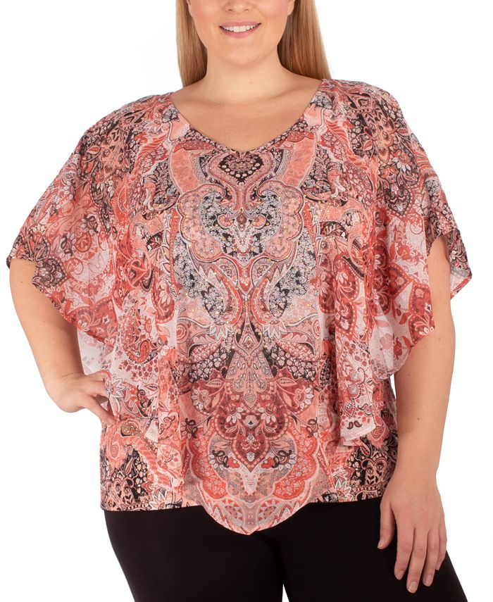 NY Collection - Plus Size Printed Studded Top
