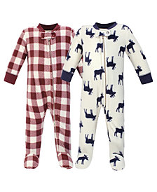 Little Treasure Baby Girls and Boys Moose Fleece Sleep and Play, Pack of 2