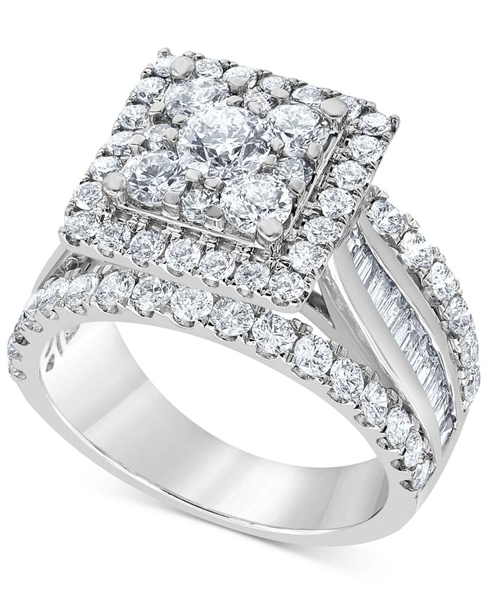 Macy's - Diamond Square Halo Multi-Row Engagement Ring (3 ct. t.w.) in 14k White Gold