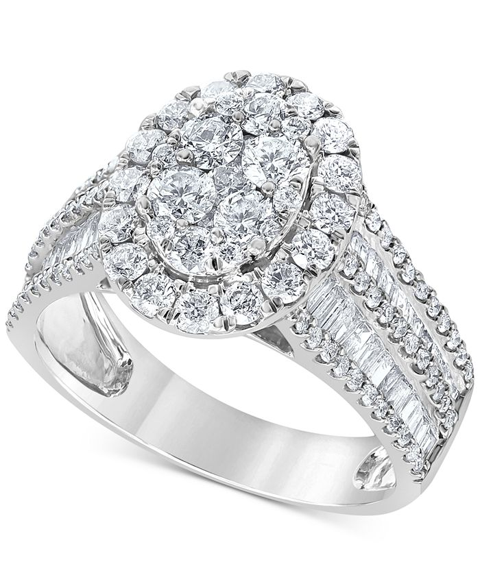 Macy's - Diamond Oval Cluster Engagement Ring (2 ct. t.w.) in 14k White Gold