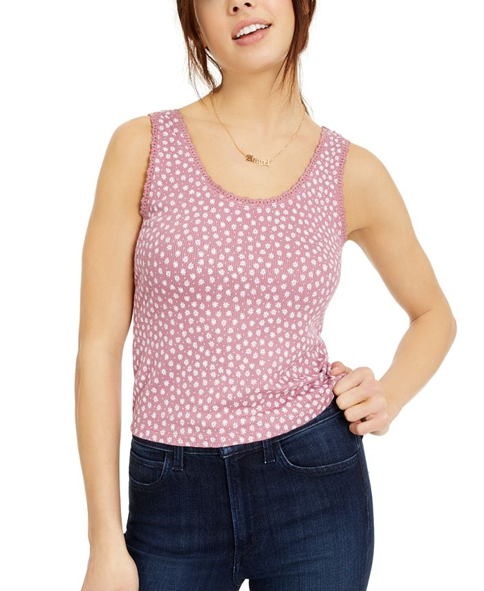 Hippie Rose - Juniors' Printed Lace-Trimmed Rib-Knit Tank Top