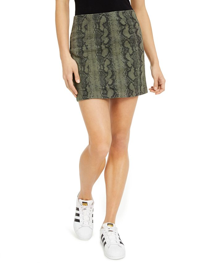 Tinseltown - Juniors' Printed-Denim Mini Skirt