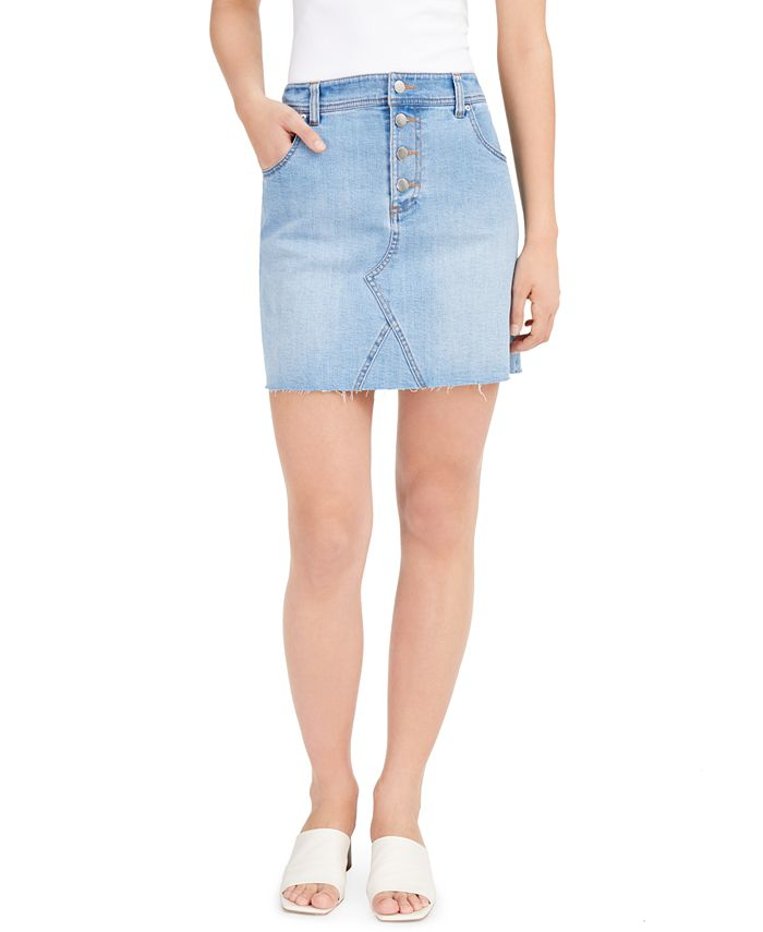 Bar III - Button-Fly Denim Skirt