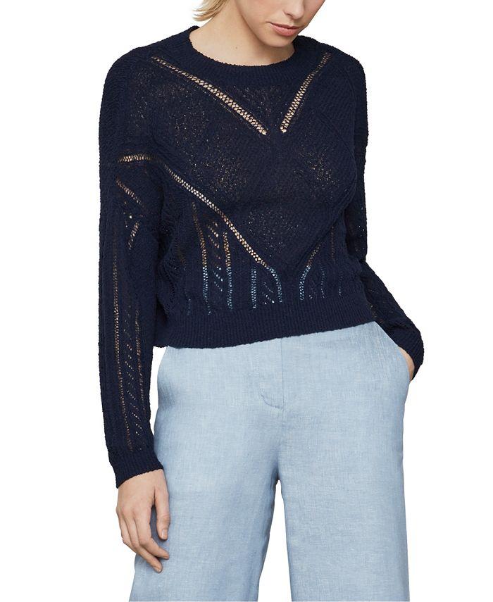BCBGMAXAZRIA - Open-Knit Pullover Sweater