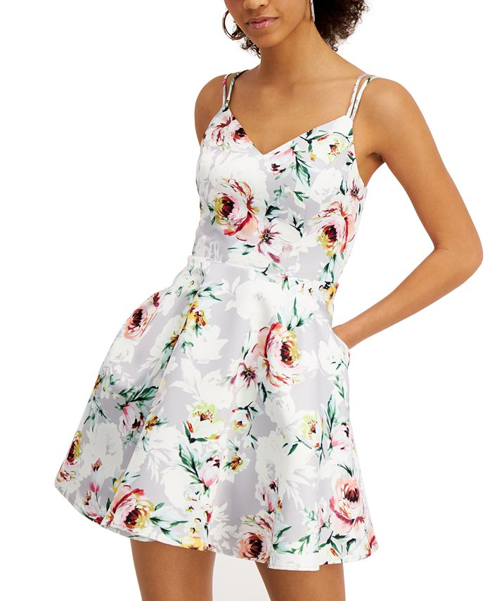 City Studios - Juniors' Floral-Print Fit & Flare Dress