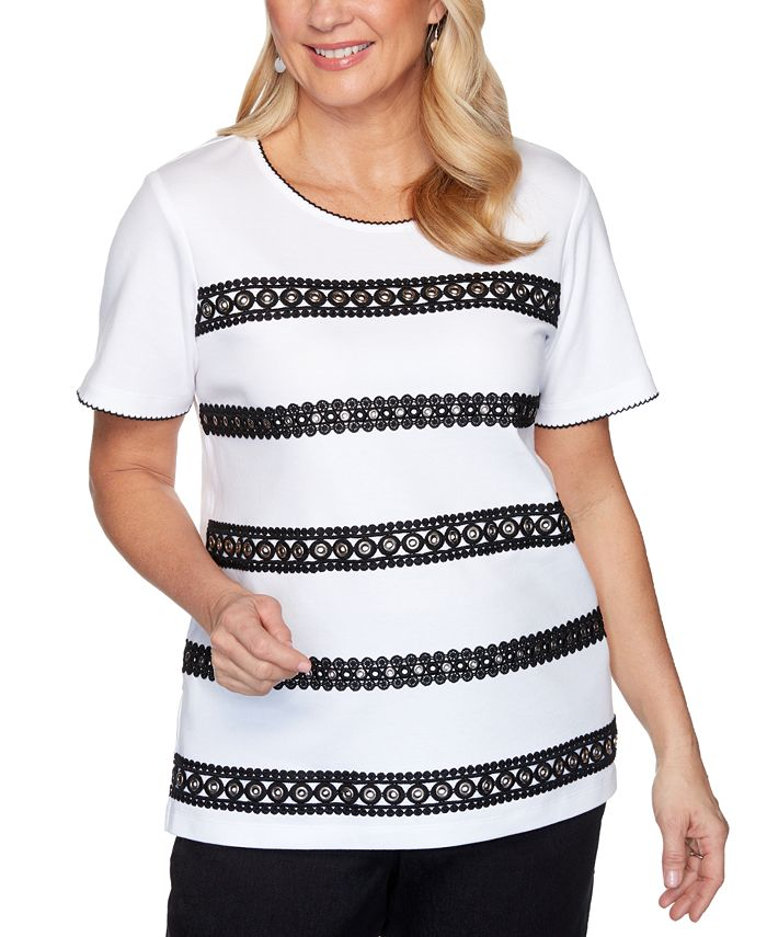 Alfred Dunner - Petite Checkmate Grommet Lace Biadere Top