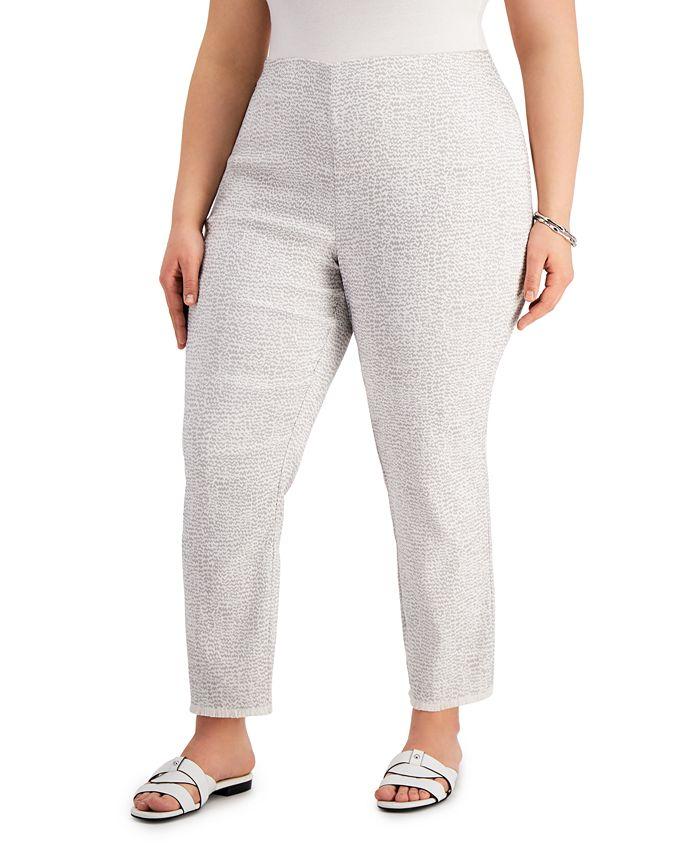 Alfani - Plus Size Printed Fringed-Hem Ankle Pants