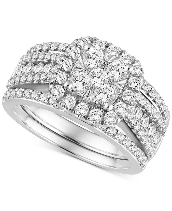 Macy's - Diamond 3-Pc. Bridal Set (2 ct. t.w.) in 14k White Gold