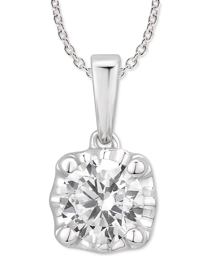 """Macy's - Certified Diamond 18"""" Pendant Necklace (1/2 ct. t.w.) in 14k White Gold"""