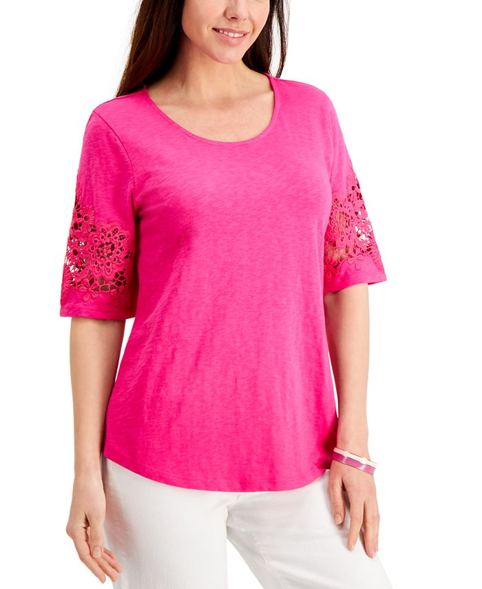 Charter Club - Petite Cotton Lace-Sleeve Top