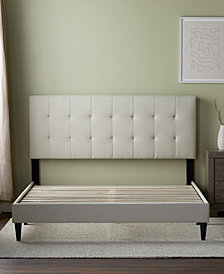 Dream Collection by LUCID UpholsteredPlatformBed Frame withSquare TuftedHeadboard, Twin Xlong
