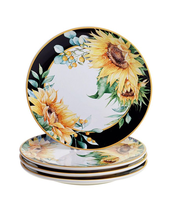 Certified International - Sunflower Fields 4-Pc. Dinner Plates