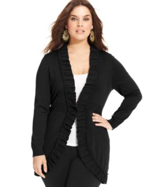 Style & co. Plus Size Long-Sleeve Ruffled Cardigan