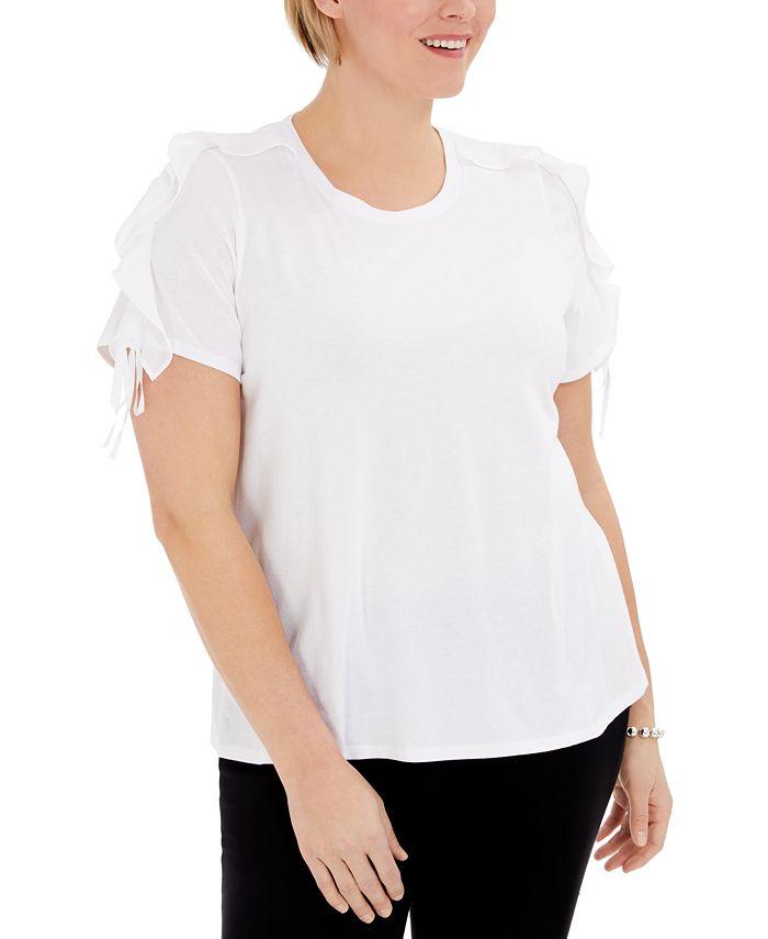 INC International Concepts - Plus Size Ruffle-Sleeve T-Shirt