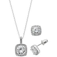 Deals on Macys Fine Silver Plate Cubic Zirconia Necklace & Stud Earring Set
