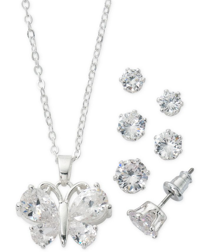 """Macy's Fine Silver Plate Cubic Zirconia Butterfly Necklace and Stud Earring Set, 18"""" + 3"""" extender  & Reviews - Fashion Jewelry - Jewelry & Watches - Macy's"""