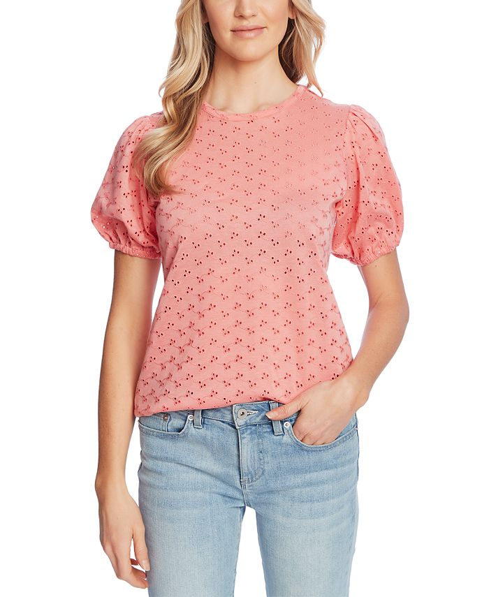 CeCe - Puffed-Sleeve Eyelet Top