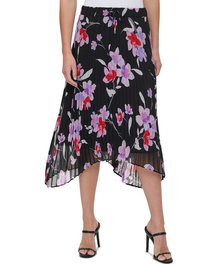 Calvin Klein - Pleated Floral-Print Skirt