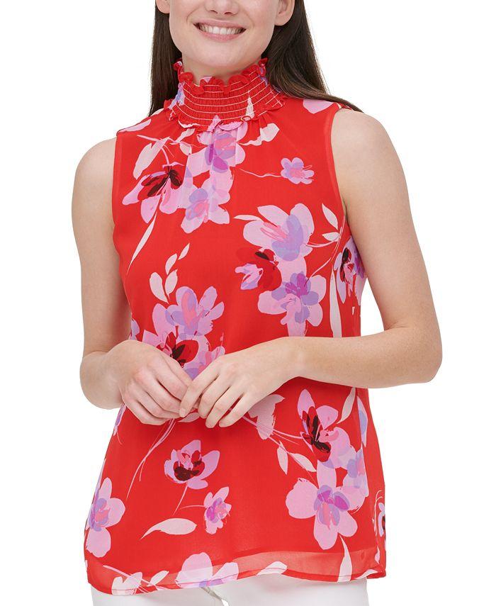 Calvin Klein - Floral-Print Smocked-Neck Top
