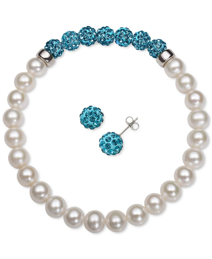 Macy's - 2-Pc. Set Cultured Freshwater Pearl (6-7mm) & Crystal Stretch Bracelet & Matching Stud Earrings