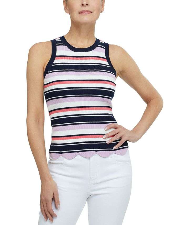 Laundry by Shelli Segal - Striped Ribbed Tank Top