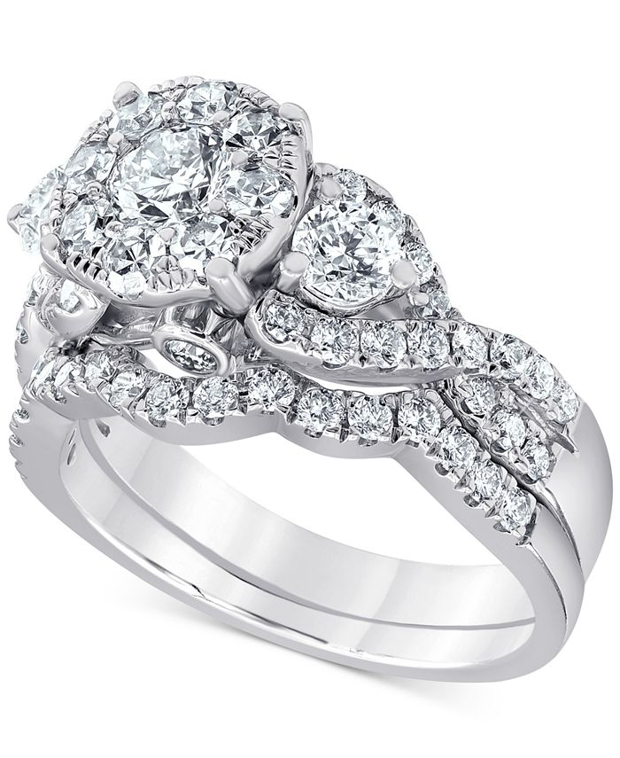 Macy's - Diamond Halo Cluster Bridal Set (2 ct. t.w.) in 14k White Gold