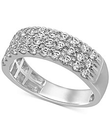 Diamond Triple Row Band (1 ct. t.w.) in 14k White Gold