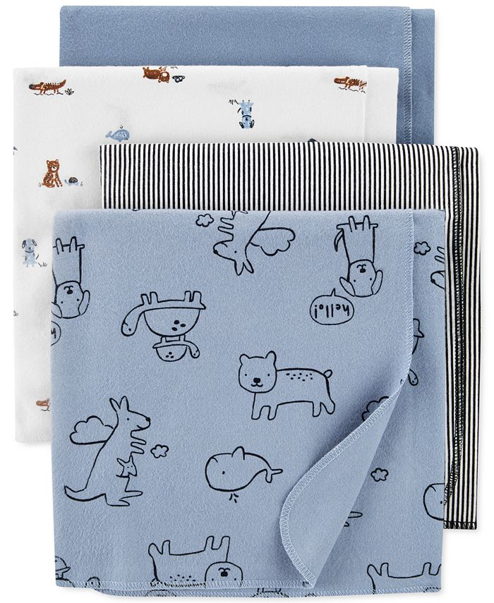 Carter's - Baby Boys 4-Pk. Animals Cotton Flannel Receiving Blankets