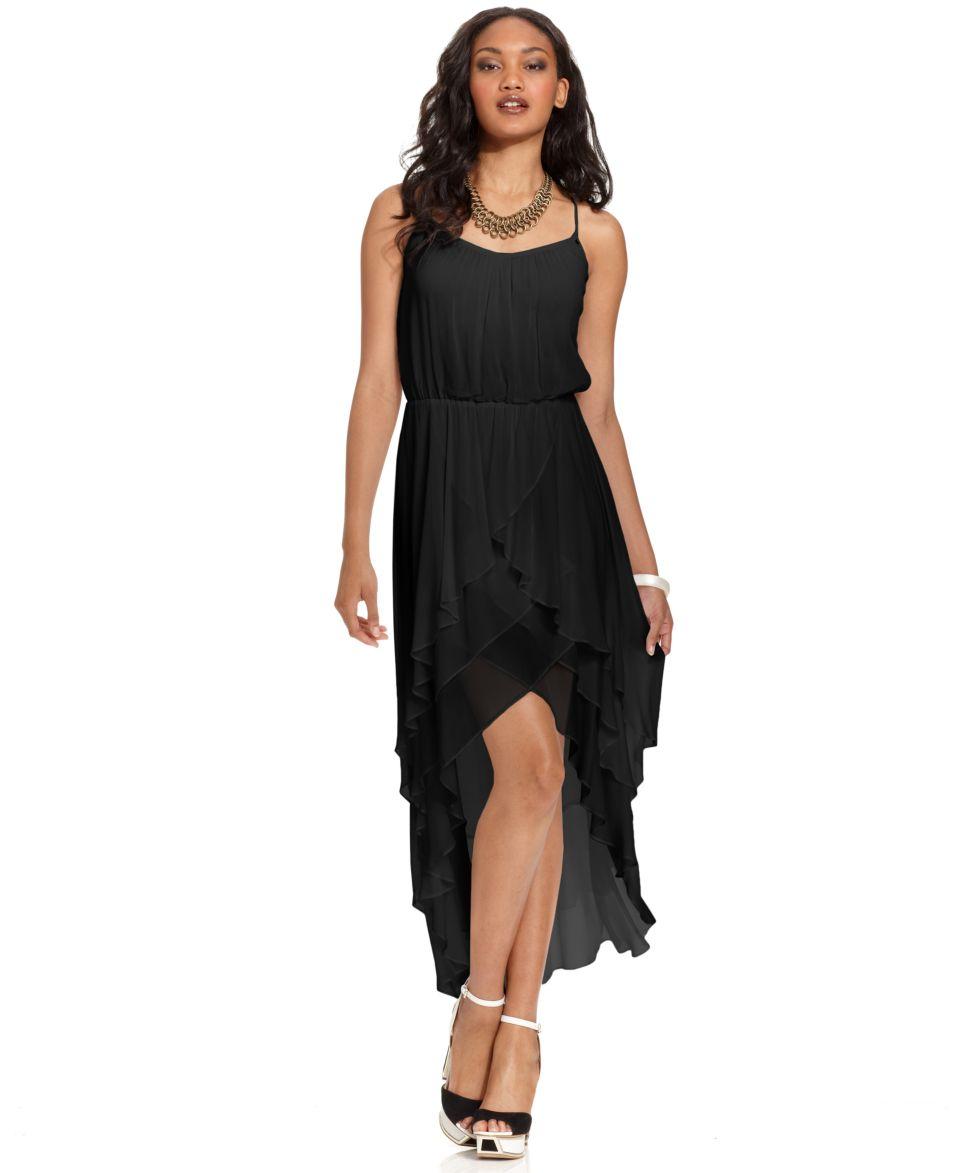 GUESS Dress, Sleeveless Scoop Neck Ruffled High Low   Dresses   Women