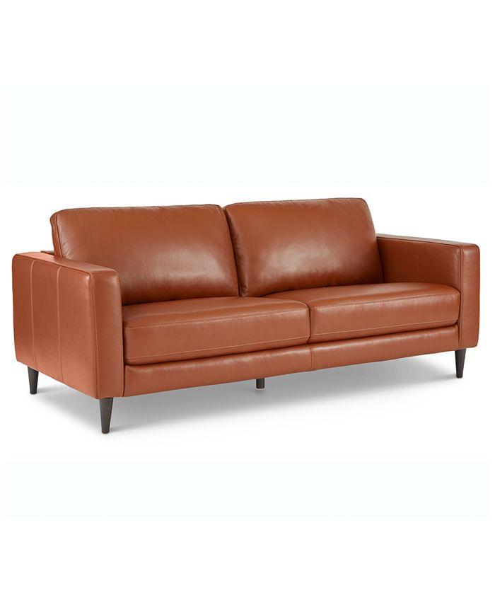 "Furniture - Jennis 78"" Leather Sofa"