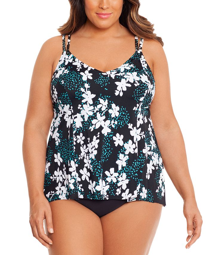Swim Solutions - Plus Size Printed Layered One-Piece Swimsuit