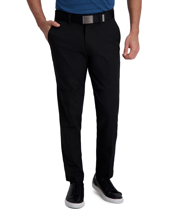 Haggar - Men's Slim-Fit Cool Right Performance Flex Flat-Front Solid Dress Pants