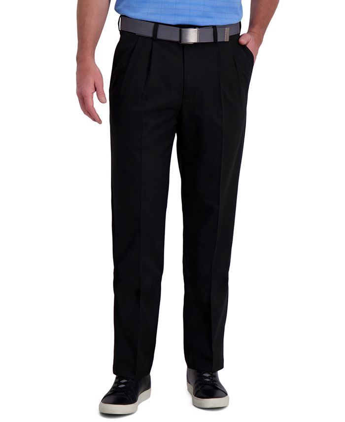 Haggar - Men's Classic-Fit Cool Right Performance Flex Pleated Solid Dress Pants