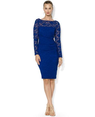 Lauren Ralph Lauren Long-Sleeve Lace Illusion Dress ...