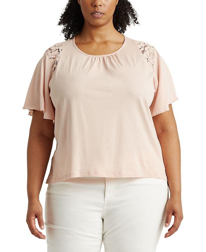Lauren Ralph Lauren - Plus-Size Lace-Trim Cotton Jersey Top